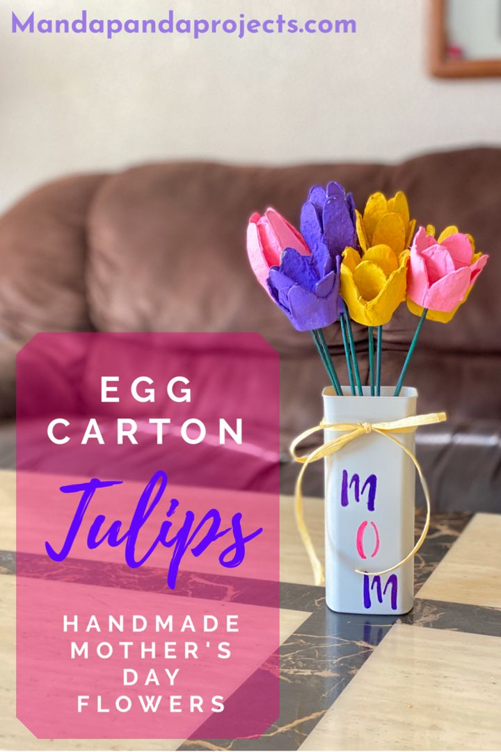 Turn your trash into a craft with these beautiful egg carton Tulips. This recycled craft is an easy spring craft for the kids to make or Mom will just love getting these handmade flowers for Mother's Day! #springcraftsforkids #mothersdaygifts #mothersdaycrafts #kidscrafts #easycraftforkids #eggcartoncraftsforkids #eggcartoncrafts #recycledcrafts #diyflowers #foreverflowers