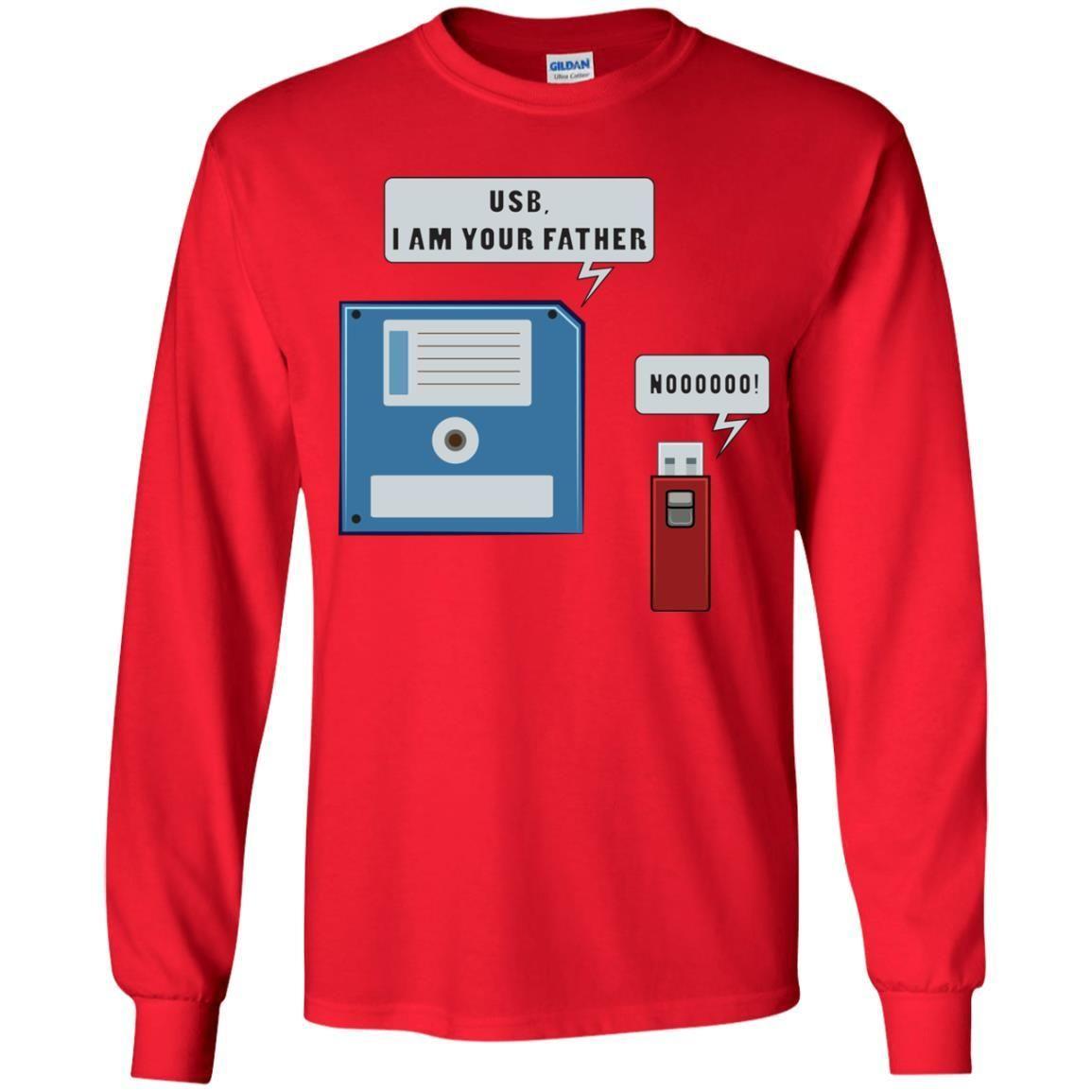55f9cdf96 USB Floppy Disk Funny Nerd Geek Unisex Long Sleeve T Shirt for Men Women Kids  Boys Girls Youth
