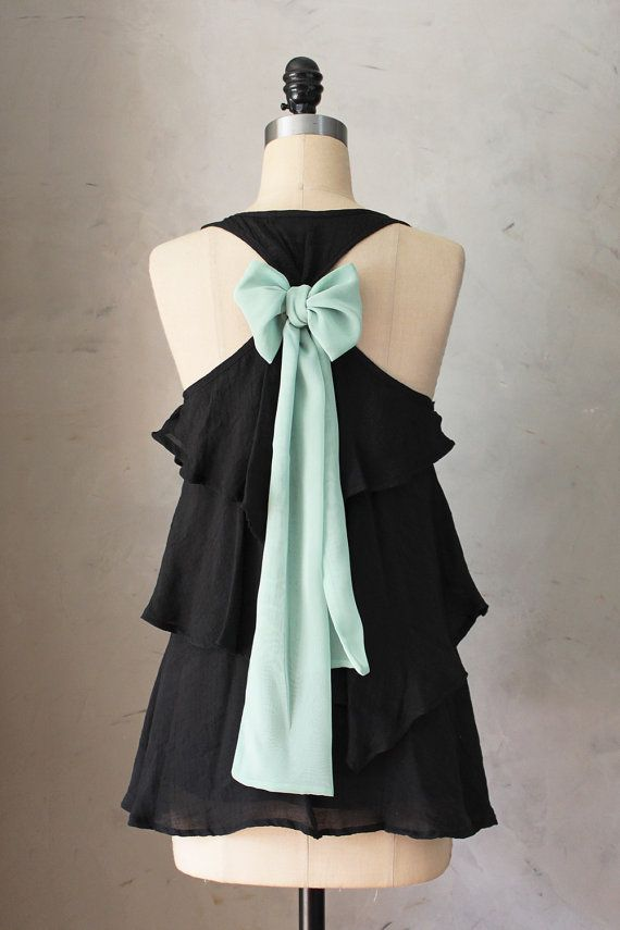 MINT TEA AURA BLOUSE  ♥ Made in Downtown Los Angeles ♥    Romantic sleeveless blouse in black with flowing, flounce tiers and a soft sage green