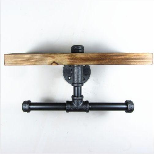 Urban industri le stijl muurbevestiging ijzeren pijp dubbele toiletrolhouder rollen houten plank - Decoratie toilet ontwerp ...