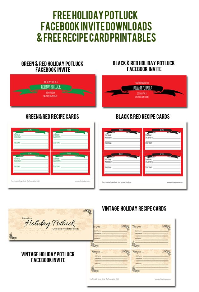 Holiday Potluck Free Downloads & Printables // A Well Crafted ...