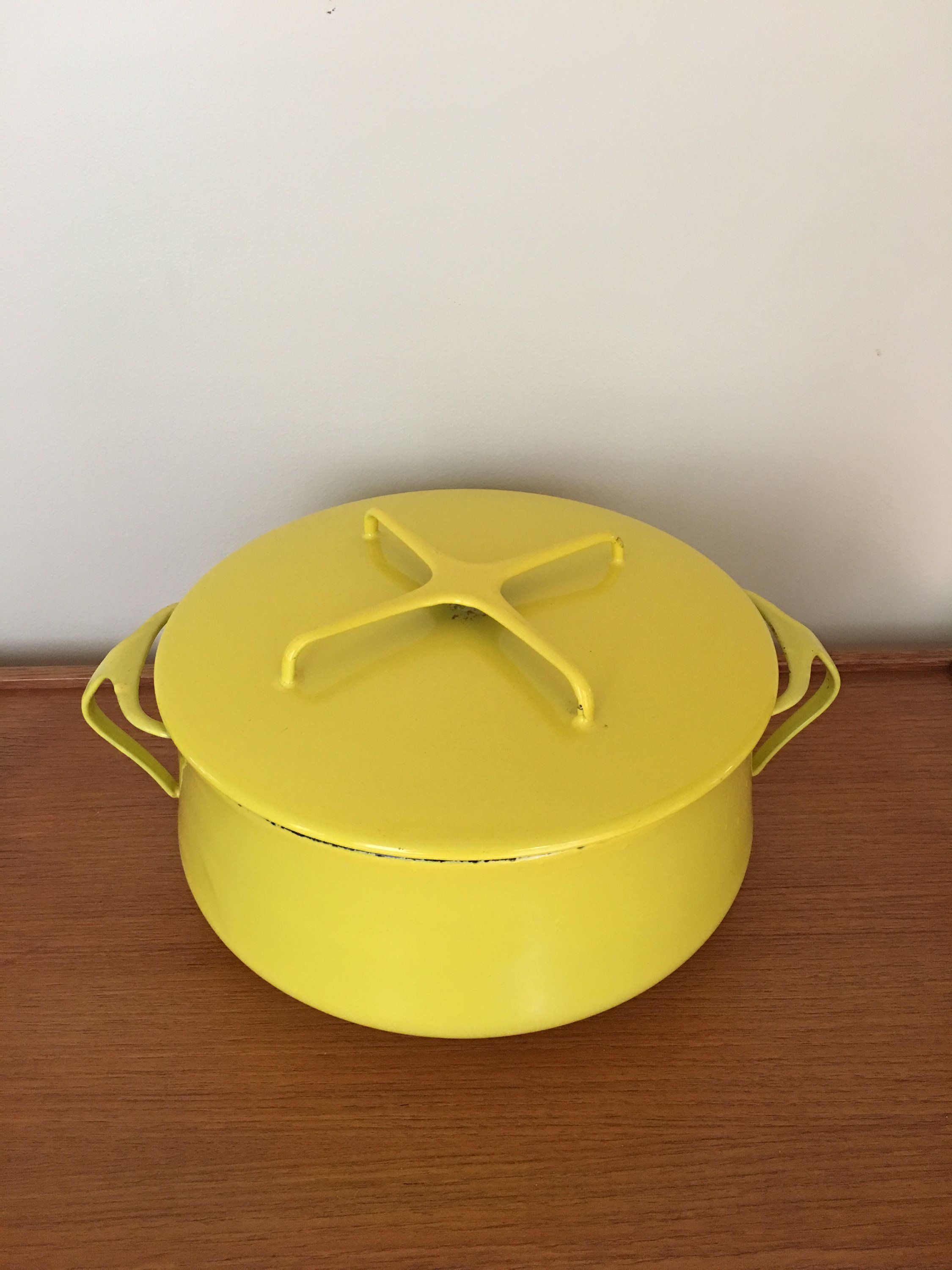 Dansk Kobenstyle 4 Qt Dutch Oven Yellow Enamel Pan With Lid Jens Quistgaard Dansk Designs Denmark Four Duck Logo I Mid Century Pot Enamel Pan Yellow Enamel