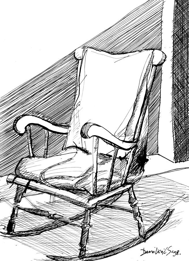 Rocking Chair Ink 1998 Chair Drawing Aesthetic Drawing Rocking Chair