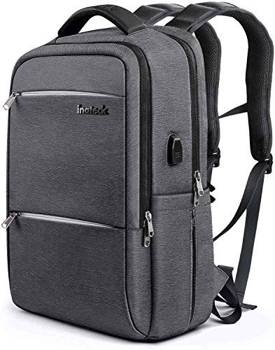 ce14b7ff1 New Inateck Slim Laptop Backpack Fits 15.6 Inch Laptops, Business Travel Bag  Rucksack with Waterproof Rain Cover/USB Charging Port , Dark Grey Backpacks.