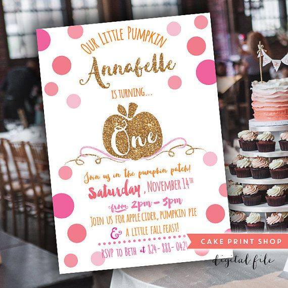 pumpkin patch party, Pink and Gold Pumpkin 1st birthday invite, Our - invitation for 1st birthday party girl
