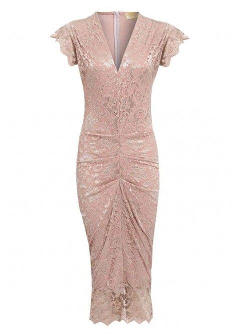 Honor Gold Adrianna Midi Dress in Champagne