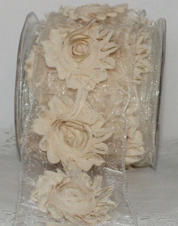 Ivory Shabby Flower Ribbon  by the yard by ThePaperSandbox on Etsy, $4.20