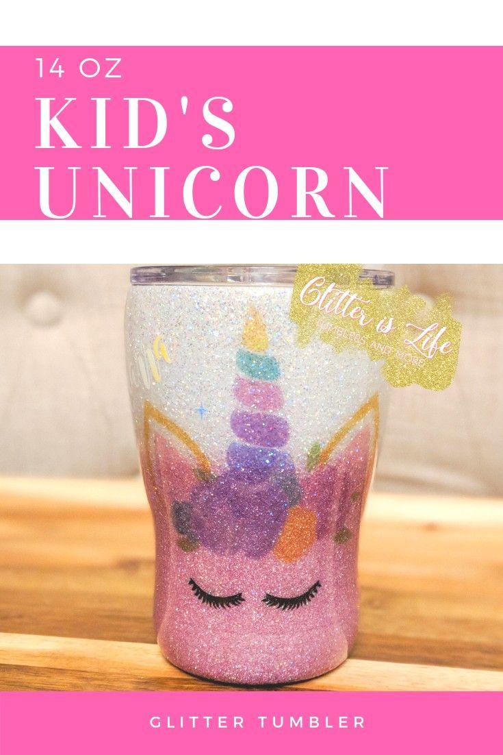 Kids unicorn glitter tumbler