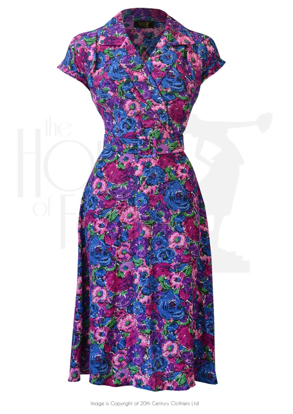 c73466d189e 1940s Style Gracie Wrap Dress in Bloomsbury Floral