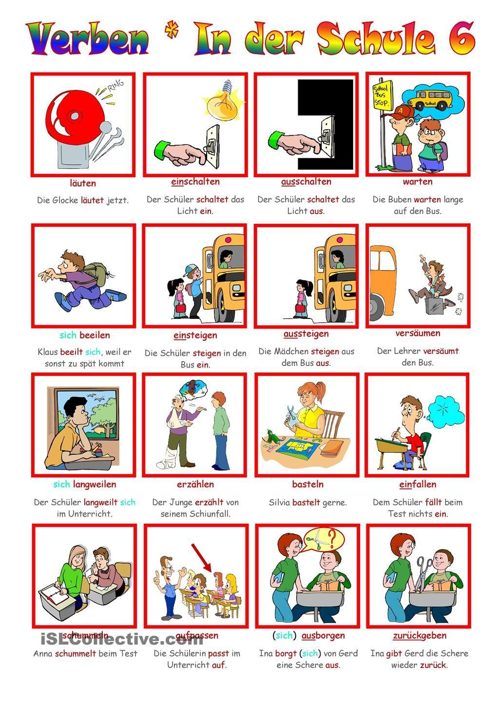 Verben _ In der Schule 6   Verben, Schule und Deutsch
