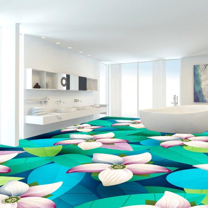 3D Lotus Leaves G143 Floor Wallpaper Murals Self-Adhesive