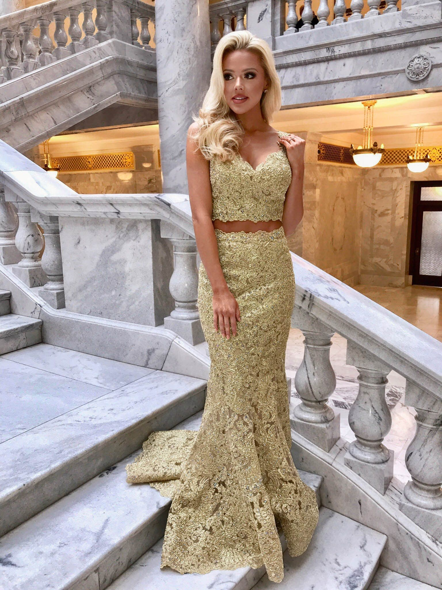 b5df1499d67 Sherri Hill Gold 2 Piece Lace Fitted Dress Ypsilon Dresses Prom Pageant  Evening Wear Homecoming Sweethearts School Dance Dress Special Occasion  Formal ...