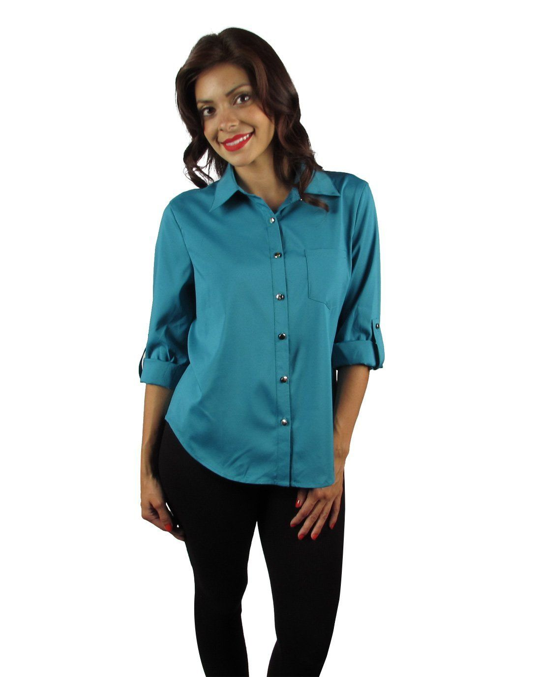 Button down collar blouse w/open crisscross back-id27447