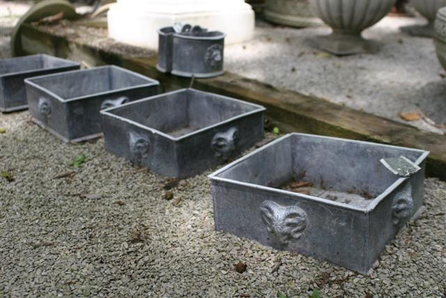 English lead square planters with rams heads. #antique #planters #ramhead