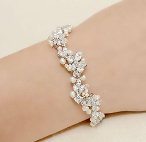 Delicate Wedding Jewelry Rhinestone, Freshwater Pearl and Swarovski Crystal Bridal Bracelet #delicate wedding jewelry Your place to buy and sell all things handmade