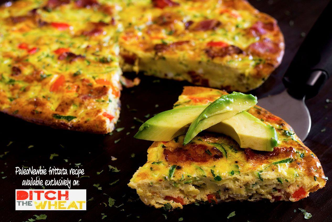 Bacon, zucchini and red pepper frittata  recipe #food #paleo #glutenfree #breakfast