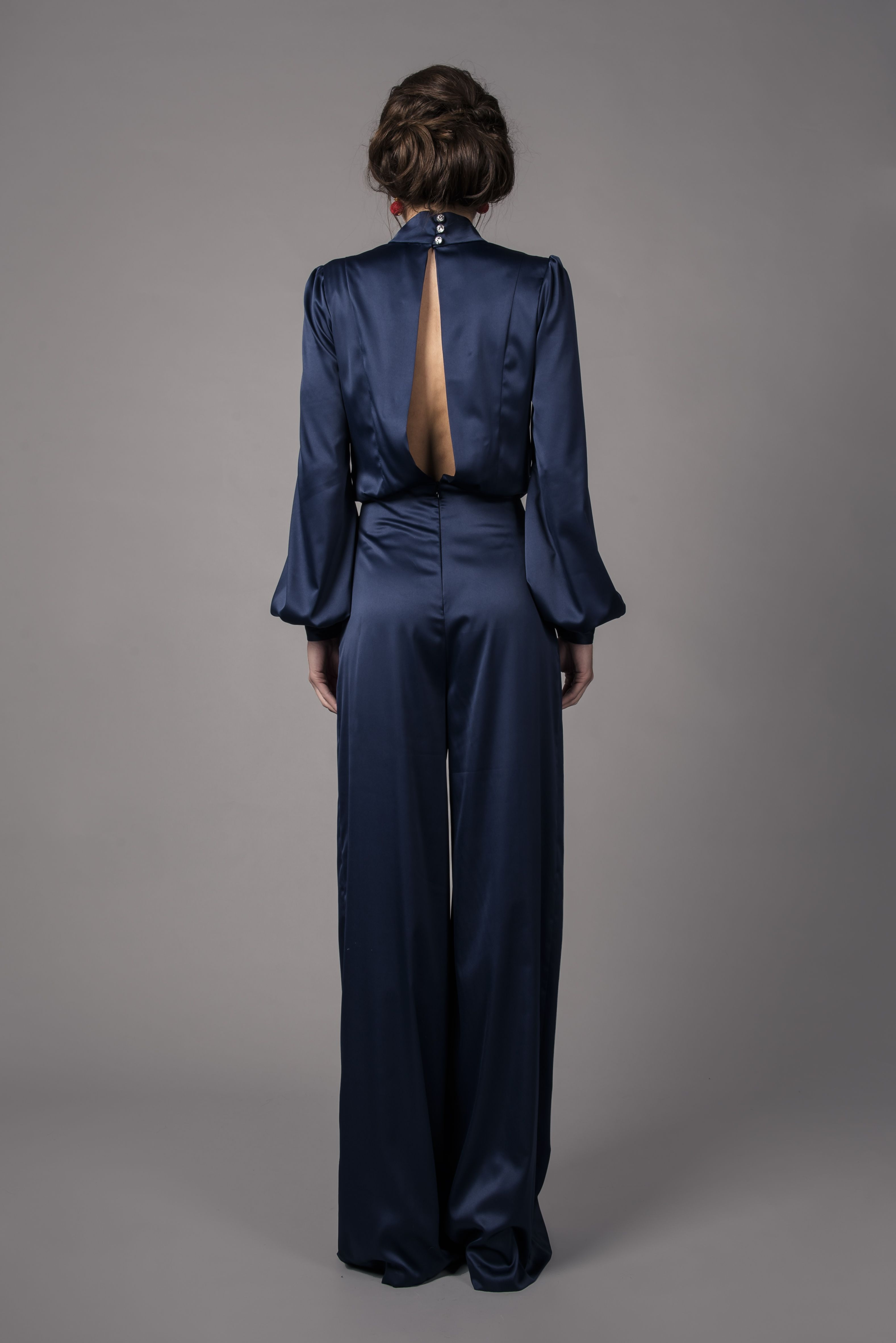 b6019e981490 Pin by Claire Mischevani on Navy satin jumpsuit