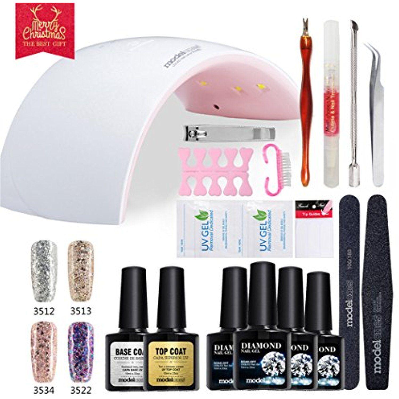 Modelones Gel Nail Starter Kit, UV LED Glitter Gel Nail Polish with ...