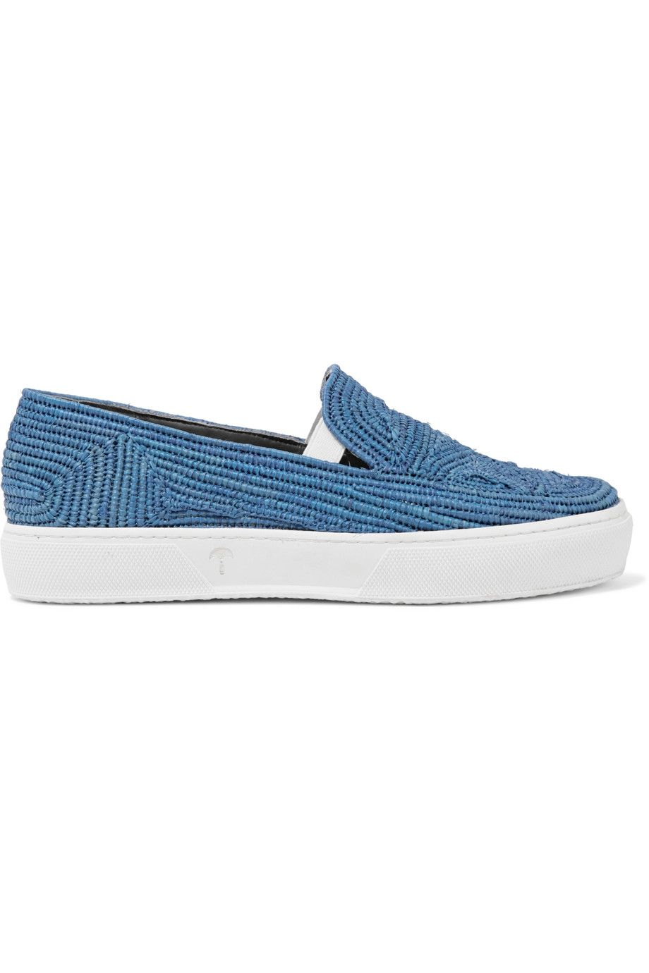 ROBERT CLERGERIE Tribal Woven Raffia Slip-On Sneakers. #robertclergerie # shoes #sneakers