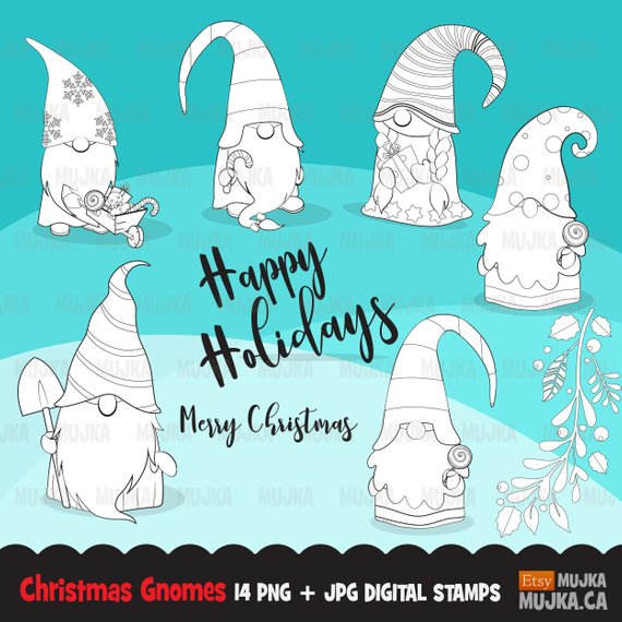 Christmas Gnome Clipart Black And White.Christmas Gnomes Digital Stamps Scandinavian Gnome Graphics
