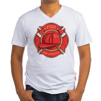 7c16279b53 Firefighter Badge Men s V-Neck T-Shirt from cafepress store  AG Painted  Brush T-Shirts.  firefighter  fireman  tshirt