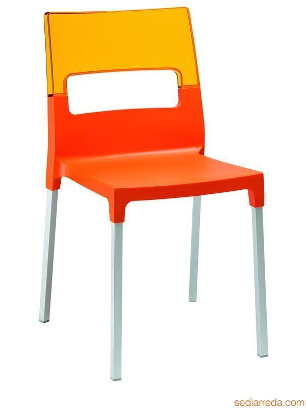 Diva 2200: Stuhl aus Aluminium und Technopolymer, versch. Farben, stapelbar, auch für Garten - Sediarreda
