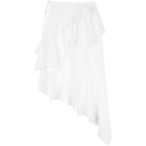 Marques'Almeida | Asymmetric Ruffle Skirt | My Chameleon ($490) ❤ liked on Polyvore featuring skirts, white knee length skirt and white skirt