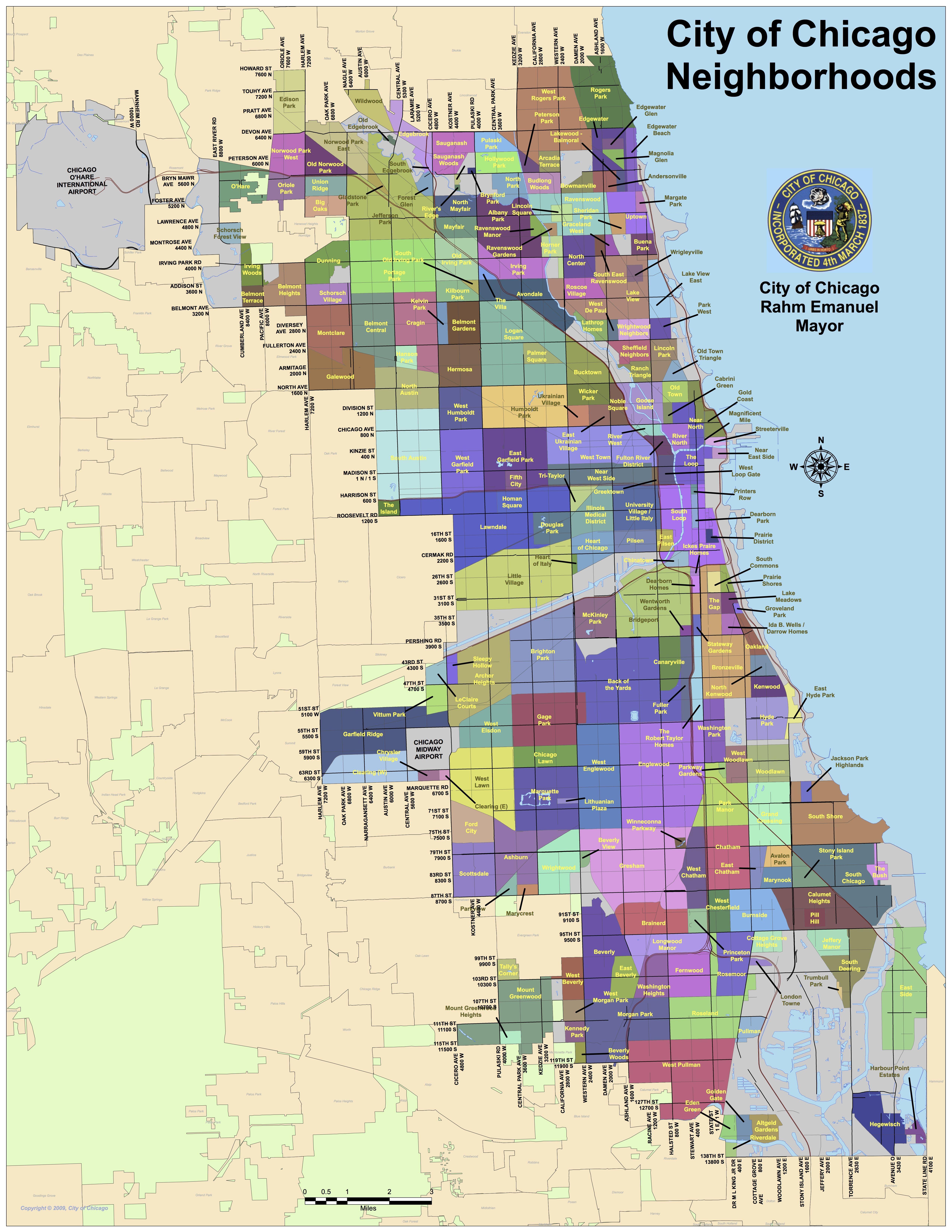 Neighborhood Map Of Chicago Adriftskateshop - Chicago map neighborhoods streets