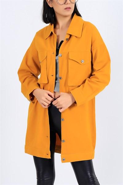 79 95 Tl Hardal Gabardin Uzun Yazlik Bayan Ceket 27101b Modamizbir 2020 Moda Giyim Hardal