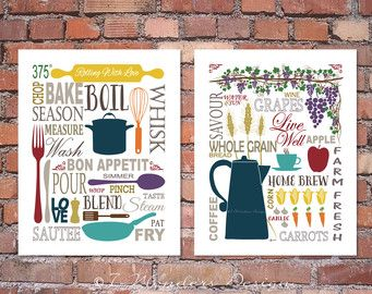 Items Similar To Modern Kitchen Art Print Set   Coffee Lovers With Floral  Bursts Wall Art   X // Modern Kitchen Fine Art On Etsy