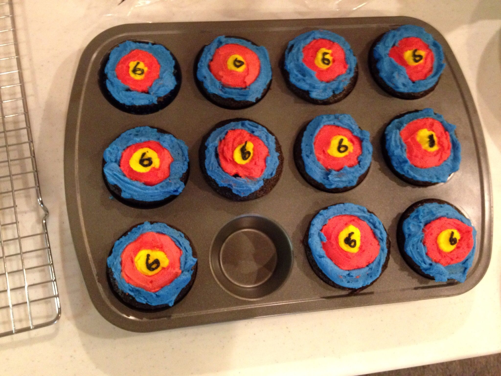 Target cupcakes for Nerf gun party.
