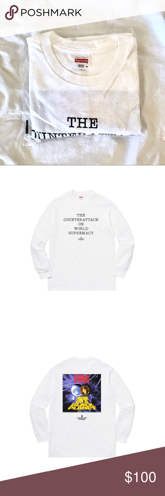 d7f2608cb048 Supreme x Undercover/Public Enemy Counterattack LS Supreme x Undercover/Public  Enemy Collaboration long sleeve t-shirt DS UNOPENED Supreme Shirts Tees ...