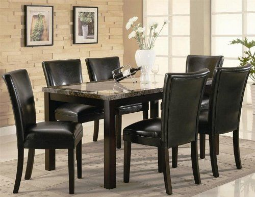7pc Dining Table and Black Parson Chairs Set in Deep Cappuccino ...