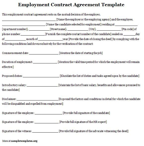 Employment contract agreement template sample contracts for Basic contract of employment template