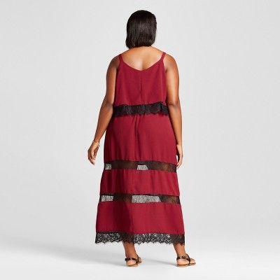 Women's Plus Size Maxi Dresses Burgundian Wine 2X - Notations, Red