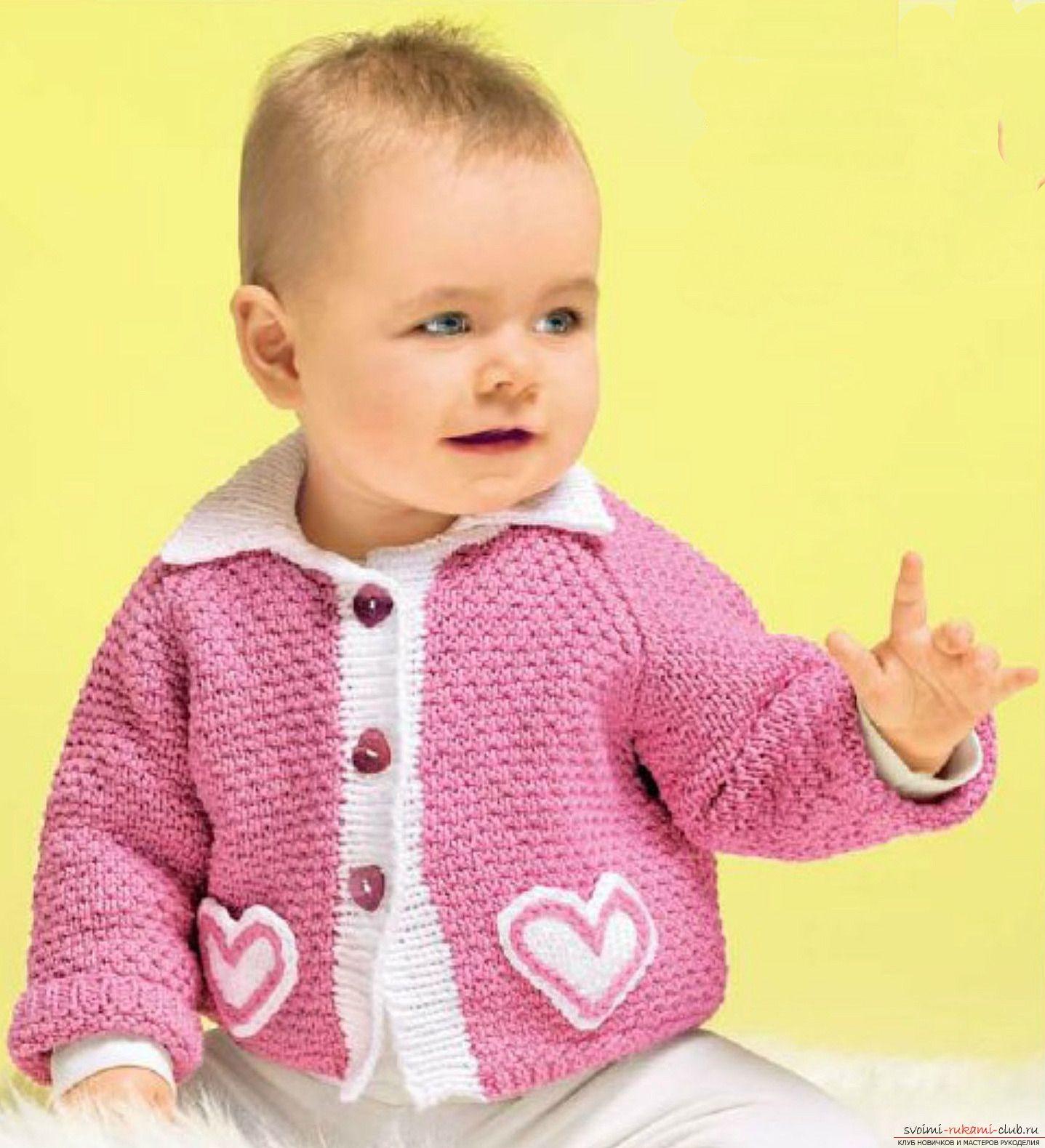 Вязание спицами кофточки для мальчика на 6 месяцев