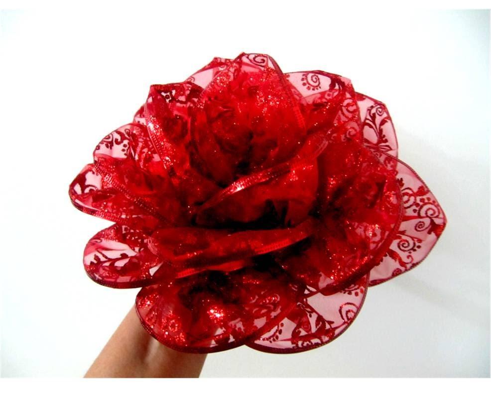 Moños Flores Rosas Rojas En Cintas De Organza Escarchada Cinta De Organza Flores Kanzashi Flores De Manualidades