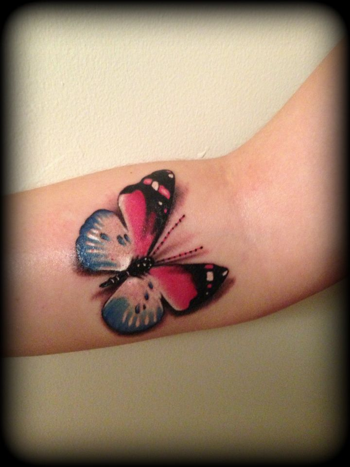 Realistic Pink And Blue Butterfly Tattoo 3d By Slabzzz On Deviantart Blue Butterfly Tattoo 3d Butterfly Tattoo Butterfly Tattoo