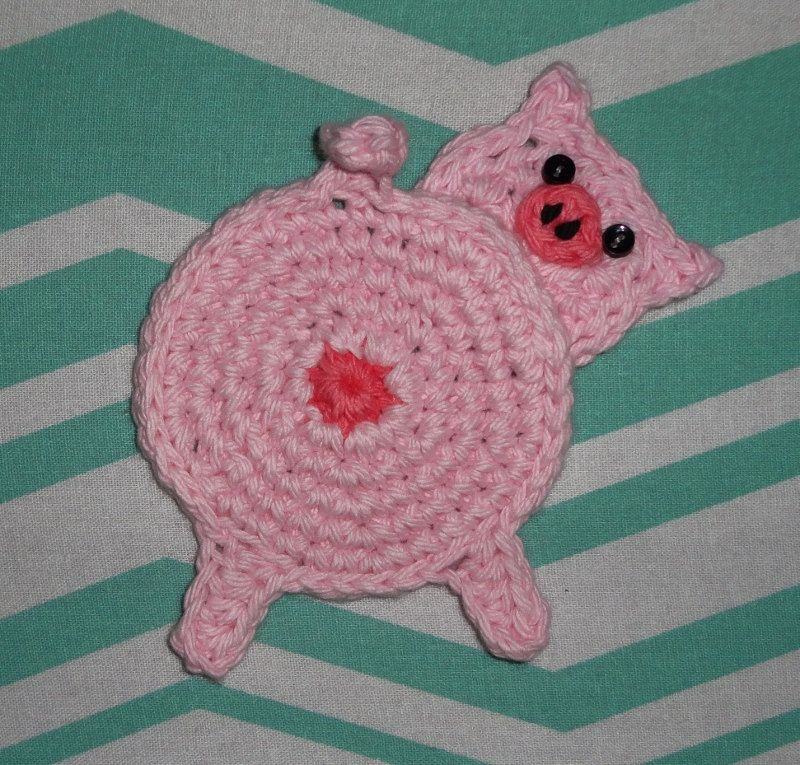 Crochet Pig butt Coasters Set of 4, Ready to ship! by SewNannaSew on ...