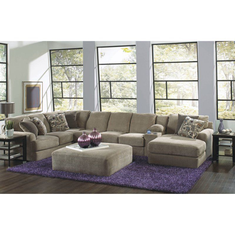 Malibu Large Chaise Sectional With Entertainment Console And