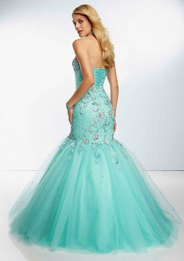 d7ea474842 Aqua Blue Strapless Lace Mermaid Wedding Dress With Corset Tie Back ...