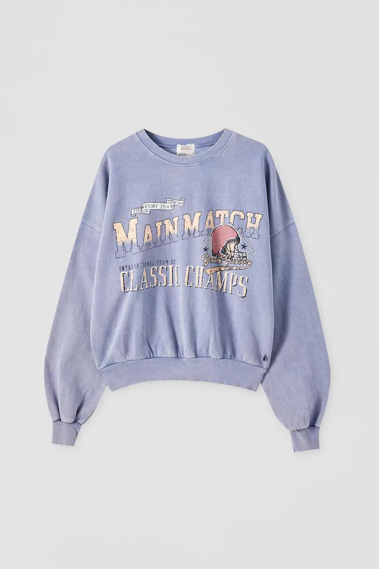 Sudadera Azul Texto Contraste Pull Bear Camisetas Mujer Ropa Buzos Estampados