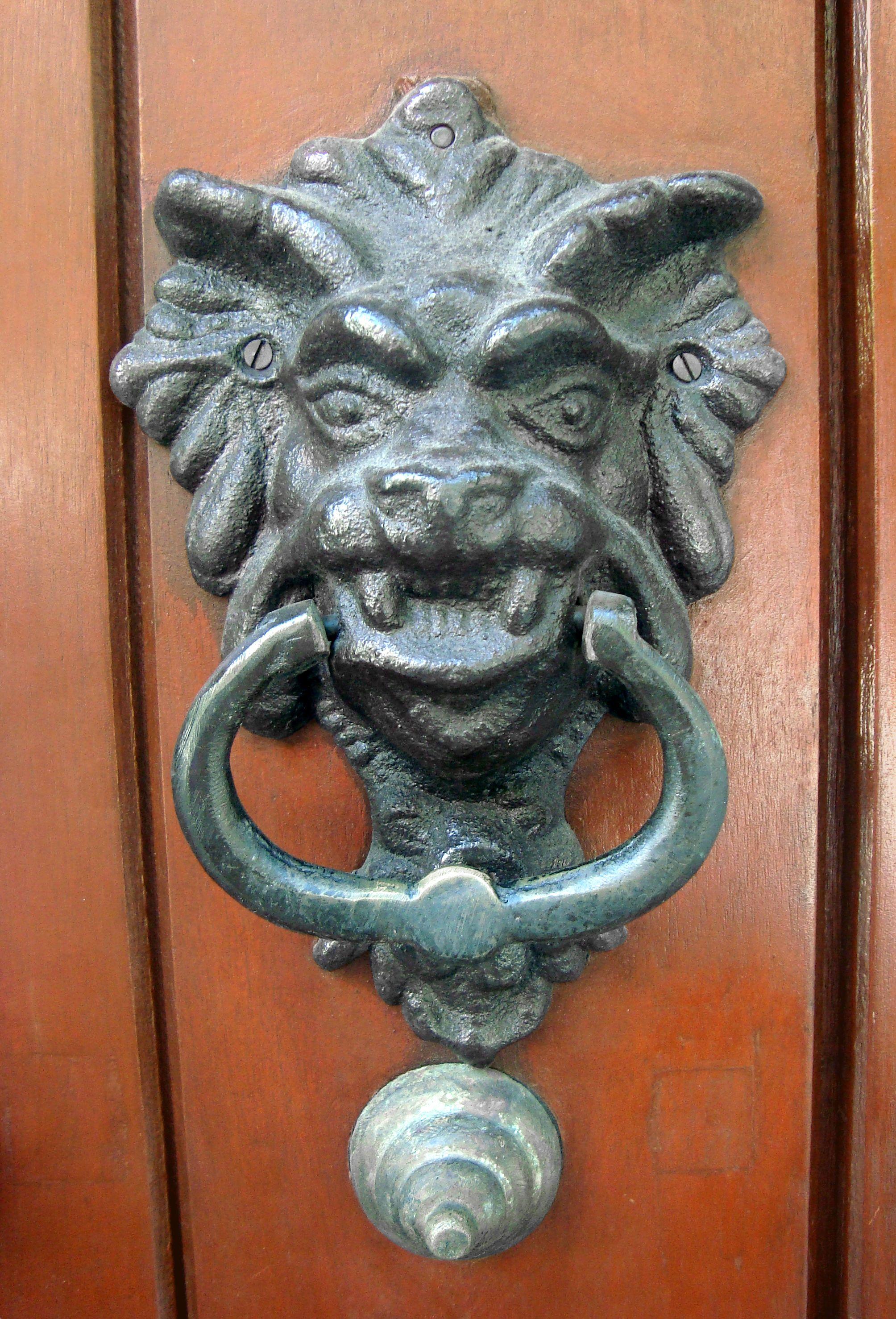Door knocker or aldaba in old town cartagena de indias colombia