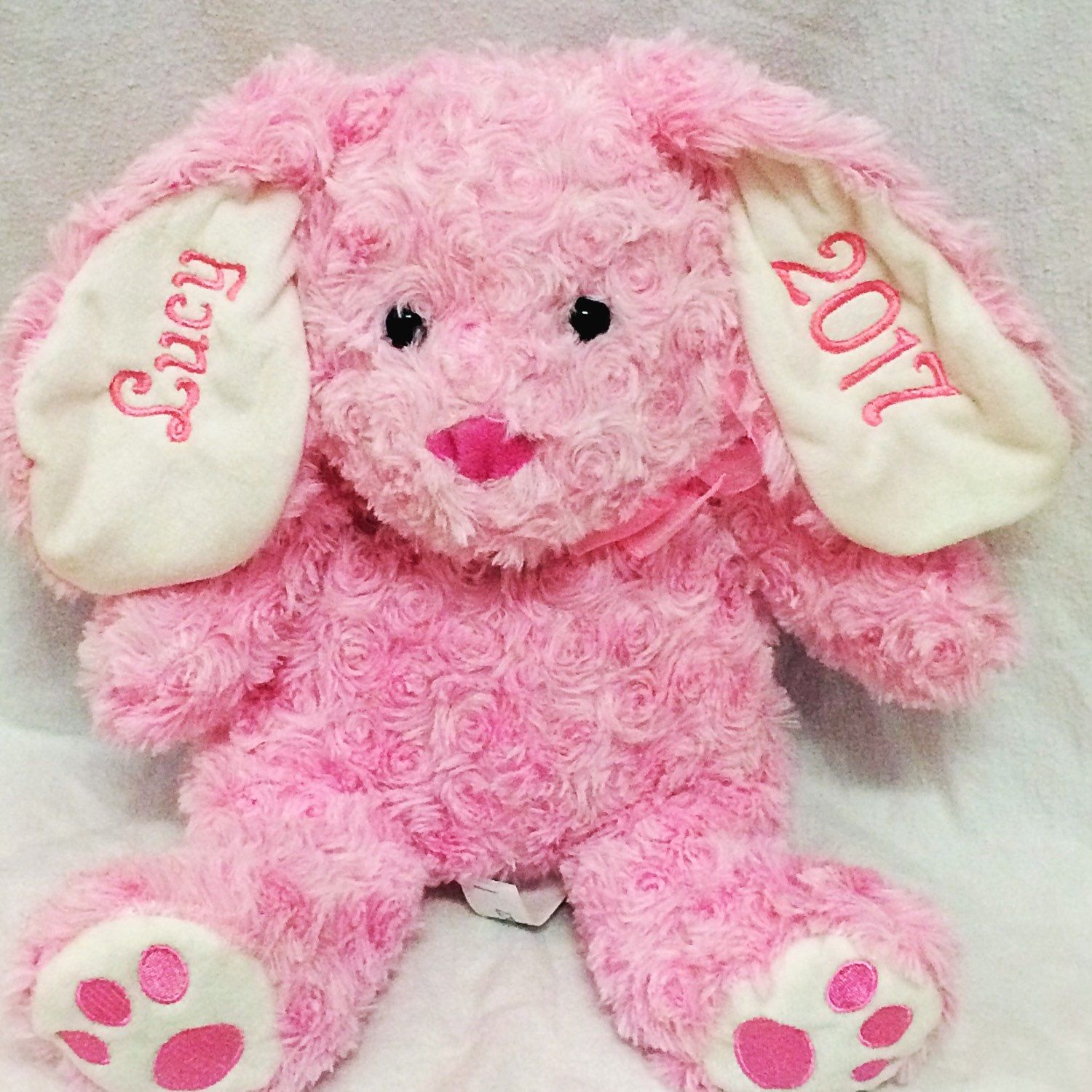 Personalized embroidered 2018 stuffed easter bunny easter gift this sweet easter or new baby gift comes in 7 different colors perfect for any navy or young kiddos easter basket negle Image collections