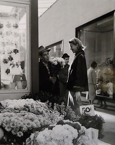 flowerstand, i. magnin, union square, san francisco, 1958 • fred lyon