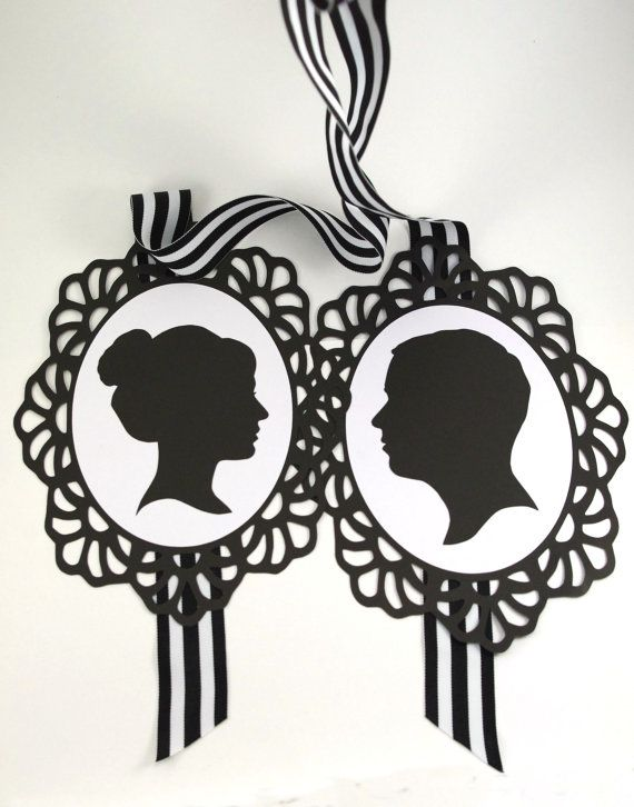 Custom Silhouette Wedding Chair Signs Black And White By MinksPaperie,  $30.00 Includes High Resolution Digital