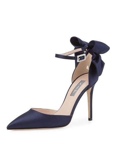 ee5278663 Trance Satin Bow Ankle-Wrap Pump Navy in 2019   *Apparel&accessories ...