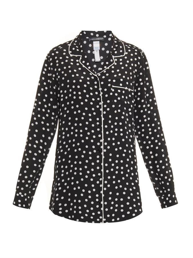Dolce & Gabbana Polka-dot print silk pyjama shirt on shopstyle.com