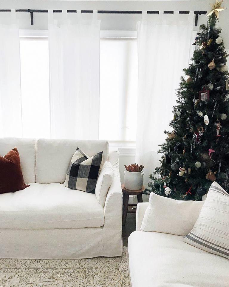 Living room, dining room, home. IKEA Farlov Sofa Slipcovers   Holiday decor, Modern ranch ...