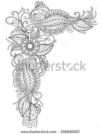 Hand-Drawn Abstract Henna Mandala Flowers and Paisley